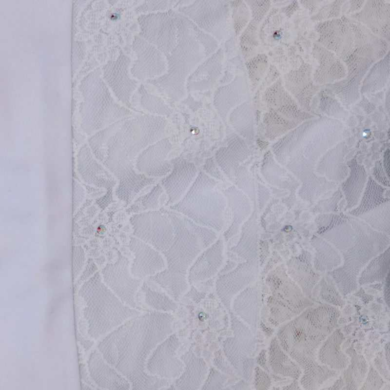 SAGESTER - Hand-made in Italy / 3/4 Sleeve Lace Dress for Dance, Figure Skating, Ice Skating, Roller Skating / SWAROVSKI crystals / Style: 135 / Size: II / Color: White