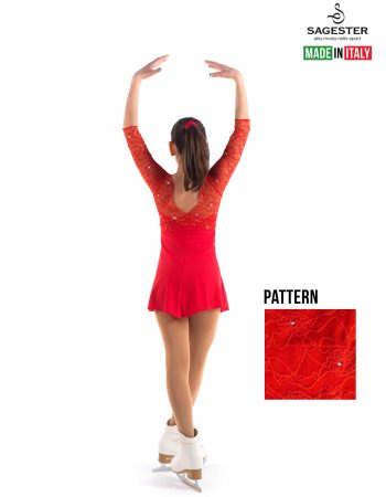 SAGESTER - Hand-made in Italy / 3/4 Sleeve Lace Dress for Dance, Figure Skating, Ice Skating, Roller Skating / SWAROVSKI crystals / Style: 135 / Size: L / Color: Red