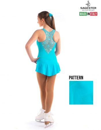 SAGESTER - Hand-made in Italy / Lace Dress for Dance, Figure Skating, Ice Skating, Roller Skating with SWAROVSKI crystals / Style: 137 / Size: XL / Color: Bay Blue