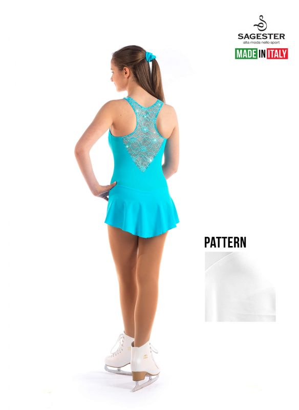 SAGESTER - Hand-made in Italy / Lace Dress for Dance, Figure Skating, Ice Skating, Roller Skating with SWAROVSKI crystals / Style: 137 / Size: XL / Color: White