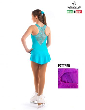 SAGESTER - Hand-made in Italy / Lace Dress for Dance, Figure Skating, Ice Skating, Roller Skating with SWAROVSKI crystals / Style: 137 / Size: XL / Color: Fuchsia Purple