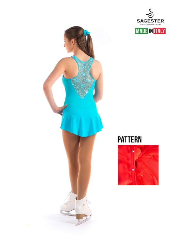 SAGESTER - Hand-made in Italy / Lace Dress for Dance, Figure Skating, Ice Skating, Roller Skating with SWAROVSKI crystals / Style: 137 / Size: XL / Color: Red