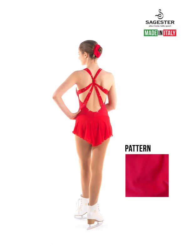 SAGESTER - Hand-made in Italy / Dress for Dance, Figure Skating, Ice Skating, Roller Skating with SWAROVSKI crystals / Open Chest and Back / Style: 151 / Size: L / Color: Red