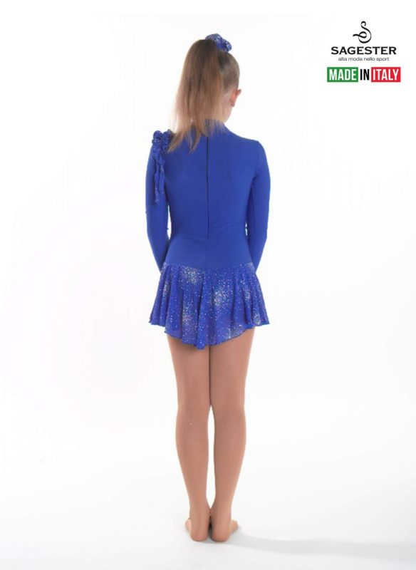 SAGESTER - Hand-made in Italy / Long Sleeve Thermal Dress for Dance, Figure Skating, Ice Skating, Roller Skating / Invisible Zip / Style: 163 / Available colors: Pink, Red, Blue, Srtawberry