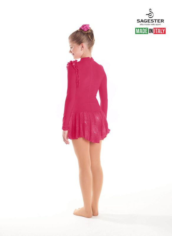 SAGESTER - Hand-made in Italy / Long Sleeve Thermal Dress for Dance, Figure Skating, Ice Skating, Roller Skating / Invisible Zip / Style: 163 / Size: I / Color: Strawberry