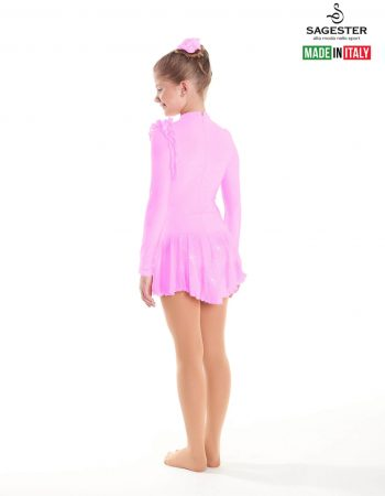 SAGESTER - Hand-made in Italy / Long Sleeve Thermal Dress for Dance, Figure Skating, Ice Skating, Roller Skating / Invisible Zip / Style: 163 / Size: I / Color: Pink