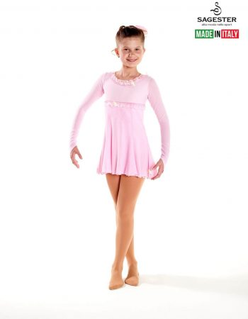 SAGESTER - Hand-made in Italy / Long Sleeve Dress for Dance, Figure Skating, Ice Skating, Roller Skating / Shiffon sleeves / Style: 169 / Available colors: Pink, Yellow, Blue, Turquoise