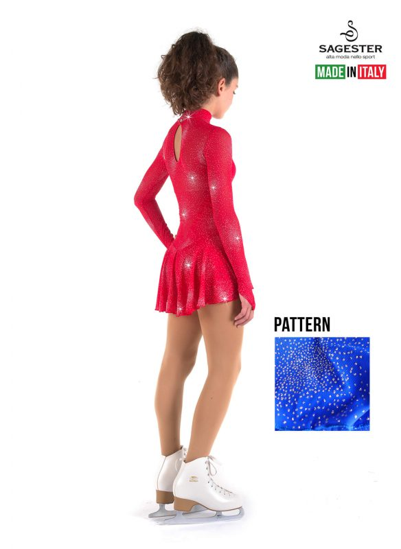 SAGESTER - Hand-made in Italy / Long Sleeve Dress for Dance, Figure Skating, Ice Skating, Roller Skating / High Neckline, in Glitter Net / Style: 177 / Size: XS / Color: Blue