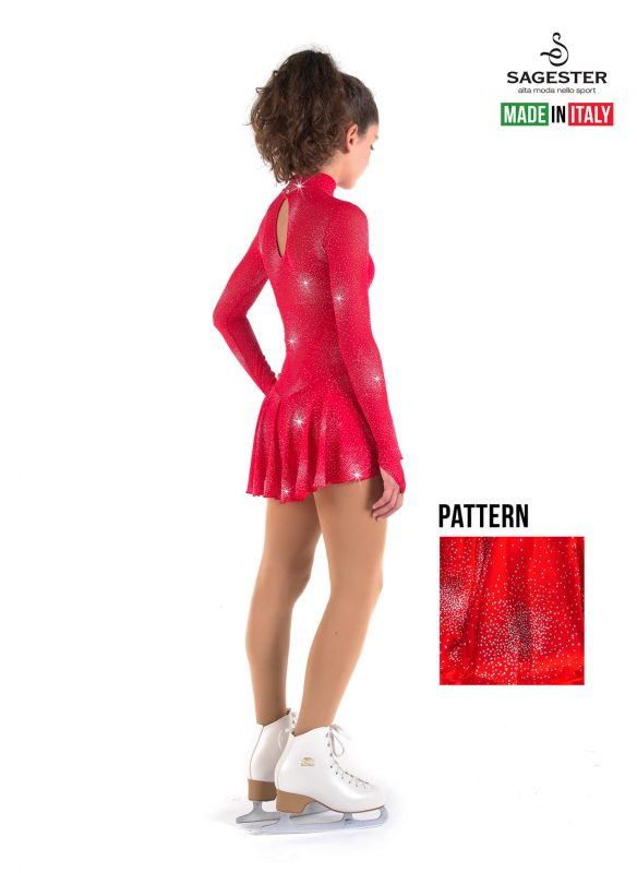 SAGESTER - Hand-made in Italy / Long Sleeve Dress for Dance, Figure Skating, Ice Skating, Roller Skating / High Neckline, in Glitter Net / Style: 177 / Size: XS / Color: Red