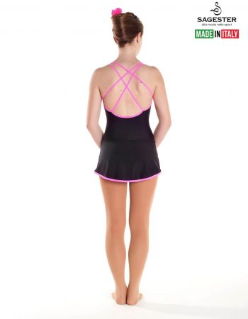 SAGESTER - Hand-made in Italy / Dress for Dance, Figure Skating, Ice Skating, Roller Skating / Double neon straps in fluorescent colour / Style: 180 / Size: L / Color: Neon Pink