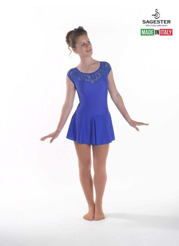 SAGESTER - Hand-made in Italy / Dress for Dance, Figure Skating, Ice Skating, Roller Skating with SWAROVSKI crystals / Skirt in Layers / Style: 186 / Colors: Black, Bordo, Blue, Fuchsia Purple