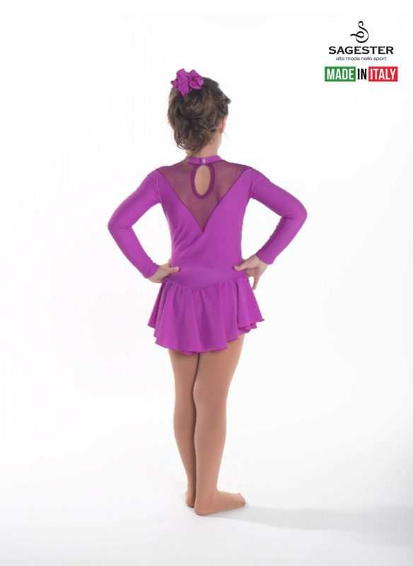 SAGESTER - Hand-made in Italy / Long Sleeve Dress for Dance, Figure Skating, Ice Skating, Roller Skating / Rhinestones application in the front / Style: 187 / Colors: Black, Blue, Fuchsia Purple