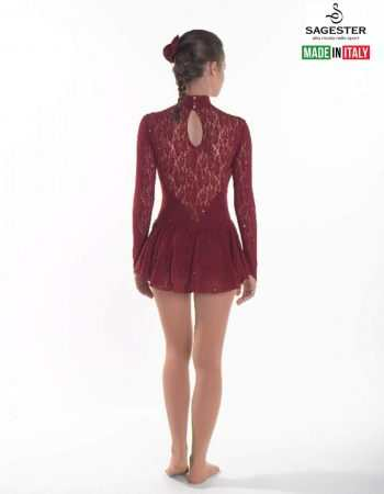SAGESTER - Hand-made in Italy / Long Sleeve Lace Dress for Dance, Figure Skating, Ice Skating, Roller Skating / SWAROVSKI crystals / Style: 188 / Available colors: Bordo, Blue, Fuchsia Purple