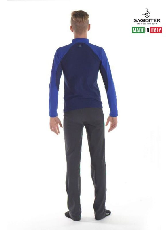 SAGESTER - Hand-made in Italy / Jacket for Figure Skating, Ice Skating / Thermal Fabric / for MEN / for Practice / Style: 254/MEN / Available Colors: Black/Red, Blue/Light Blue (Jacket only)