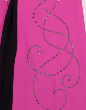 SAGESTER - Hand-made in Italy / Black Jacket for Figure Skating, Ice Skating / Rhinestones Application on Colored Sides / Style: 265 / Size: II / Color: Fluo Fuchsia