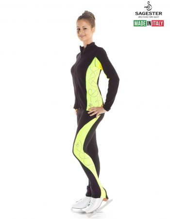SAGESTER - Hand-made in Italy / Black Jacket for Figure Skating, Ice Skating / Rhinestones Application on Colored Sides / Style: 265 / Side Colors: Fluo Fuchsia, Fluo Yellow (Jacket only)