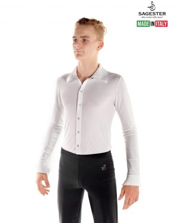SAGESTER - Hand-made in Italy / Shirt for Dance, Figure Skating, Ice Skating, Roller Skating / for MEN / Frontal opening with mother-of-part buttons / Style: 453 / Colors: Black, White (Body only)