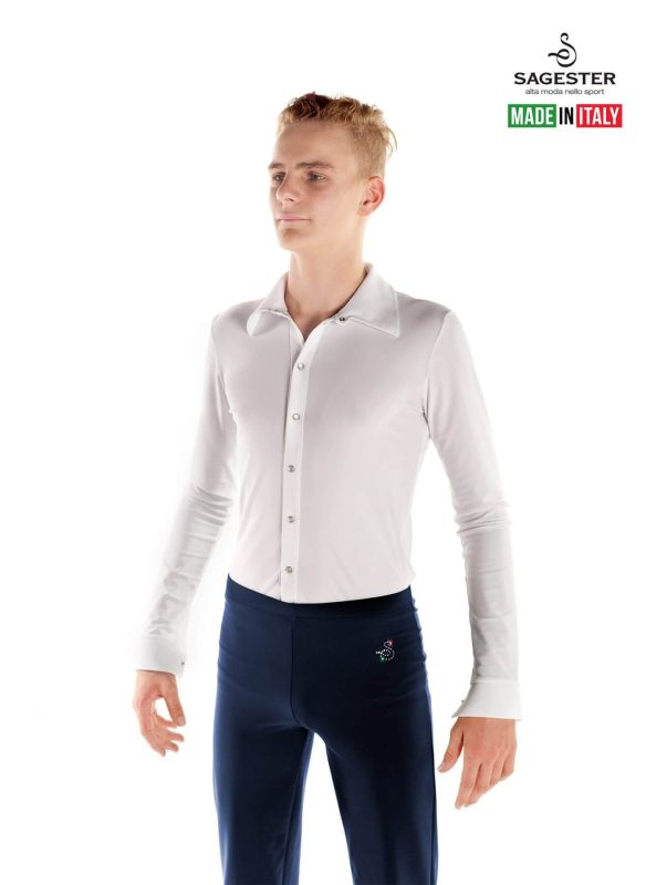 SAGESTER - Hand-made in Italy / Pants for Figure Skating, Ice Skating, Roller Skating / for MEN / Belt and Straps on the Bottom / Fabric: Lycra / Style: 440 / Size: 36 / Color: Blue (Fabric: Lycra)
