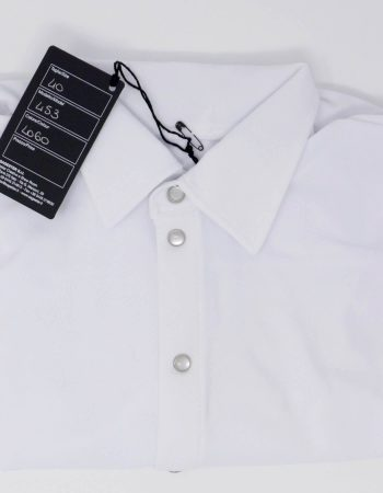 SAGESTER - Hand-made in Italy / Shirt for Dance, Figure Skating, Ice Skating, Roller Skating / for MEN / Frontal opening with mother-of-part buttons / Style: 453 / Size: 36 / Color: White