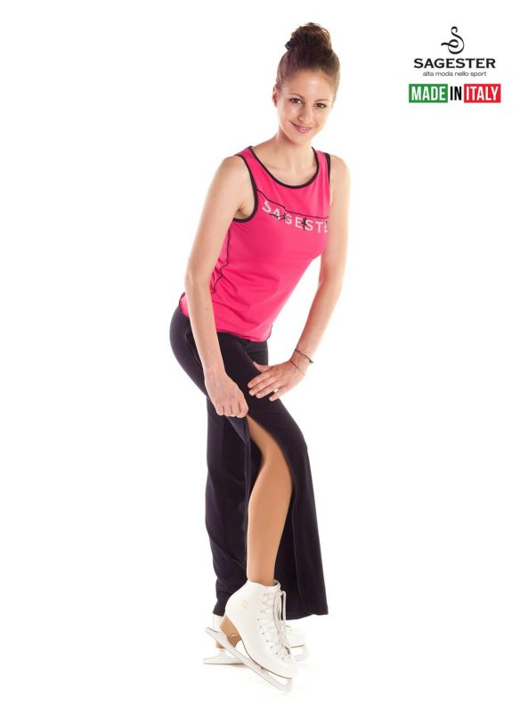 SAGESTER - Hand-made in Italy / Pants for Figure Skating, Ice Skating / with Opening Zip on Both Sides / Style: 520 / Color: Black (Pants only)