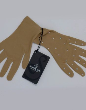 SAGESTER - Hand-made in Italy / Gloves for Figure Skating, Ice Skating, Roller Skating / SWAROVSKI crystals / Skin Color / Microfibra / Style: 523 / Size: XS / Color: Nude with Swarovski Crystals