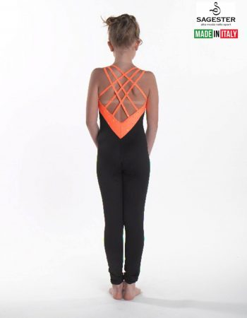 SAGESTER - Hand-made in Italy / Overall Pants for Figure Skating, Ice Skating, Roller Skating / SWAROVSKI crystals / Inserted Colored Lycra / Style: 625 / Size: I / Color: Fluo Orange with Black