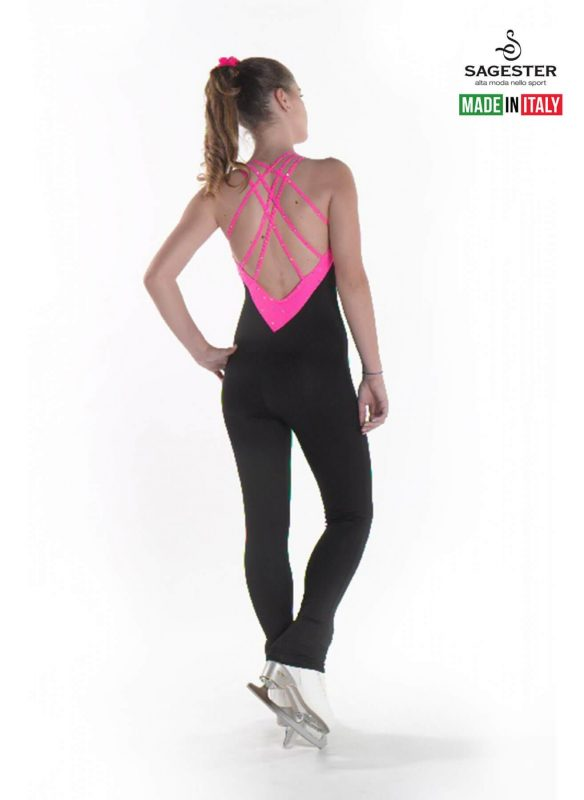 SAGESTER - Hand-made in Italy / Overall Pants for Figure Skating, Ice Skating, Roller Skating / SWAROVSKI crystals / Inserted Colored Lycra / Style: 625 / Insert Colors: Green, Orange, Pink, Yellow