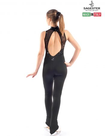 SAGESTER - Hand-made in Italy / Overall Flared Pants for Figure Skating, Ice Skating, Roller Skating / with SWAROVSKI crystals / Coverskate on Heel / Net inserted / Style: 624 / Color: Black