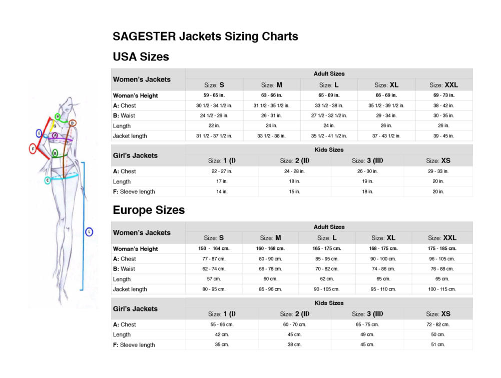 Sagester Sizing Charts